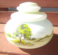 Vintage Fenton Milk Glass Hand Painted Signed Carolyn Shockey Candy Dish Jar | eBay