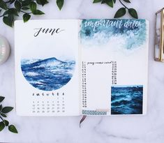 My June Plan with Me is now up on my channel! 💙 I did an ocean theme for my watercolor painting this month and I am so happy with it 🌊✨ The ocean has always been a place that is close to my heart and so getting to finally try painting it for the first … August Bullet Journal Cover, Bullet Journal Yearly, Bullet Journal Spread, Bullet Journal Layout, Bullet Journal Ideas Pages, Bullet Journal Inspiration, Bullet Journals, Printable Calendar Template, Ocean Themes