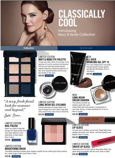 GORGEOUS & so Chic! Navy + Nude: a beautiful new collection from Bobbi Brown. All Things Beauty, Beauty Make Up, Bobbi Brown Makeup Looks, Beauty Skin, Hair Beauty, How To Make Lipstick, Coral Lipstick, Beauty Hacks, Beauty Tips