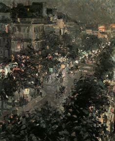 Paris Night. Italian Boulevard, 1908,  Konstantin Alekseevich Korovin. Russian (1861 - 1932)