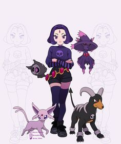Teen Titans / Pokemon Fan Art Pokemon Fan Art, Geek Art, Teen Titans, Cartoon Art, Anime Art, Minnie Mouse, Disney Characters, Fictional Characters, Raven
