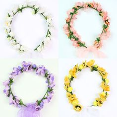 5 Colors Flower Girl Headpiece Floral Halo Garland Floral Head Wreath Bridal