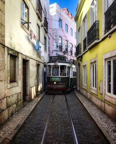 Tiny little street 🚋 ~ Lisbon, Portugal Phot Portugal Travel, Lisbon Portugal, Spain Travel, Travel Around The World, Around The Worlds, Lisbon Tram, Tramway, Europe Photos, Wanderlust