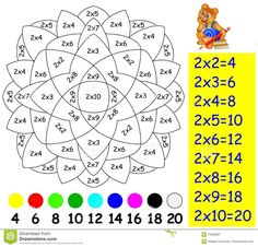 Illustration about Vector image. Developing children skills for counting and multiplication. Scale to any size without loss of resolution. Illustration of paint, color, arithmetic - 70489837 Math Games, Learning Activities, Mental Maths Worksheets, Math Charts, Color Puzzle, Math Multiplication, Math Math, 2nd Grade Math, Math For Kids