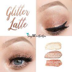 Glitter Latte Eye Trio uses three SeneGence ShadowSense : Sandstone Pearl Shimmer, Moca Java Shimmer and Rose Gold Glitter. These creme to powder eyeshadows will last ALL DAY on your eye. #shadowsense #trio  #eyeshadow