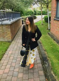Zara scarf print dress, black H&M blazer, orange suede Topshop mules, Dior Saddle bag in black Dior Saddle Bag, Saddle Bags, Fendi, Gucci, Show Photos, Miu Miu, Marc Jacobs, Prada, Valentino