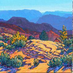 Ash Creek and Overlook 12 X 12 2012 Landscapes Landscape Quilts, Landscape Art, Landscape Paintings, Mexican Paintings, Southwestern Art, Desert Art, Native American Art, Desert Plants, Illustration Art