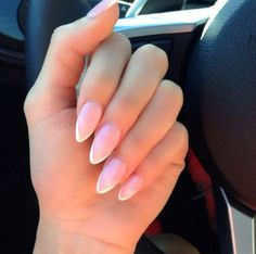 Almond shaped French tip nails