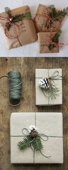 Beautiful wrapping ideas for a rustic Christmas
