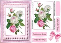 Beautiful Roses in a Pink Scdalloped Frame  on Craftsuprint - Add To Basket!