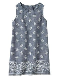 Bandana chambray shift dress