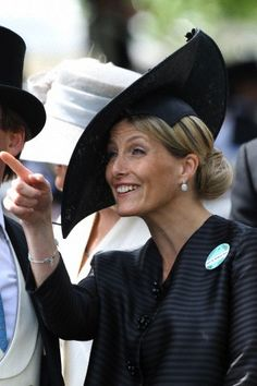 Sophie Countess of Wessex with an elegant hat that worked perfectly with her diamond earrings on the fourth Day of Royal Ascot 2013