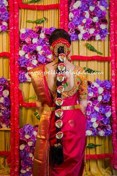 Telugu bride in Red kanjeevaram saree, vaddanam and designer blouse with pelli poola jada, wedding flower jada, with parrot and floral wall backdrop for pellikooturu function Wedding Hairstyles For Girls, Bridal Hairstyle Indian Wedding, South Indian Bride Hairstyle, Chignon Wedding, Bridal Hairdo, Indian Wedding Hairstyles, Braided Hairstyles Updo, Indian Wedding Outfits, Bride Hairstyles