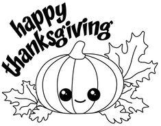 Happy Thanksgiving Kawaii Pumpkin with Fall Leaves