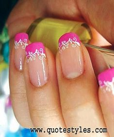 SIMPLE PINK AND WHITE NAILS ART-2016