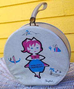 Vintage Little Miss Traveler Round Vinyl Zipper by retrowarehouse