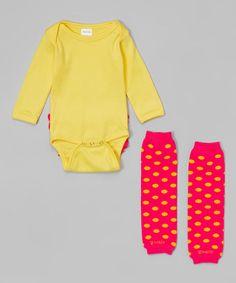 Yellow Ruffle Bodysuit & Dark Pink Hot Dottie Leg Warmers by Zootie B. Little #zulily #zulilyfinds