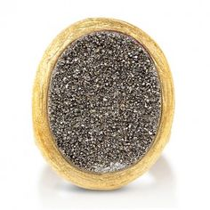 Gold-Tone Oval Brown Druzy Ring