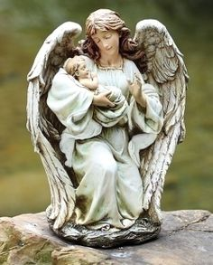 "Angel With Baby Statue 17""H for Mom & Terry"