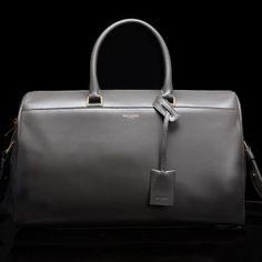 Saint Laurent by Hedi Slimane grey duffle satchel hand bag purse ... seen in March 2013 Harper's Bazaar