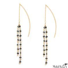 Michele Varian Shop - Black Diamond Gold Chain Earrings