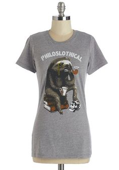 Mammalian Metaphysics Tee - Mid-length, Knit, Grey, Print with Animals, Casual, Critters, Short Sleeves, Crew