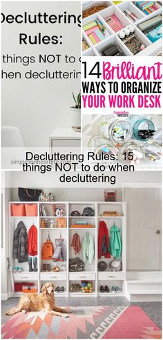 """Decluttering Rules: 15 things NOT to do when decluttering. While I don't believe there are any decluttering rules that are guaranteed to work for everybody, all the time, I do believe there are some things you can do, or avoid doing, to make decluttering easier, less painful and less frustrating. These 15 """"decluttering rules"""" or guidelines can help you declutter faster, easier and more effectively. #declutter...,Decluttering Rules: 15 things NOT to do when decluttering,  #Decluttering #Rules Work Desk, Decluttering, You Can Do, Blog, Preppy Desk, Blogging, Desk Office"""