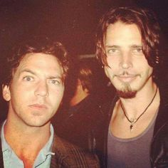 """""""No one sings like you anymore"""". Chris Cornell's lyric w/TOTD song, 'Say Hello To Heaven',  for good friend Andy Wood! Photo with Eddie Vedder"""
