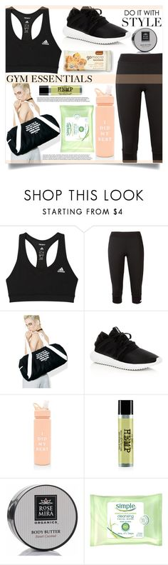 """Gym Essentials"" by mistressofdarkness ❤ liked on Polyvore featuring adidas, Jac Vanek, ban.do, Rosemira and Simple"