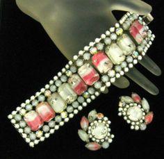 Vintage Hobe Set Mirror Art Glass Extra Wide Bracelet Earrings Extraordinary | eBay