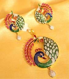 Buy Diamond Look Meenakari Ruby Pendant Set Pendant online