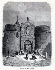 Antique print gate Toledo Spain 1872 / grabado Puerta Nueva de Bisagra