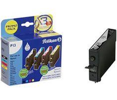 Pelikan p13 promo pack de 4 cartouches d'encre + 1 compatible epson t0711/t0712/t0713/t0714 5 x 9 ml (noir/cyan/magenta/jaune