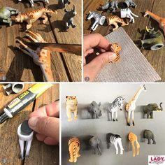 Nerd Crafts, Diy Arts And Crafts, Diy Crafts For Kids, Home Crafts, Plastic Animal Crafts, Plastic Animals, Diy Recycling, Jungle Room, Diy Bebe
