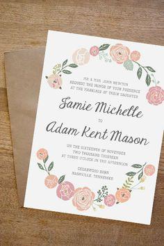Blush Floral DIY 3 Piece Wedding Invitation by howlcreativeco, $40.00