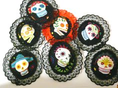 Items similar to Sugar Skull Brooch Day of the Dead Fabric Jewellery Rockabilly Psychobilly Accessory Lace Rosette on Etsy Skull Fabric, Fabric Brooch, Psychobilly, Fabric Jewelry, Day Of The Dead, Rosettes, Etsy, Lace, Sugar Skulls