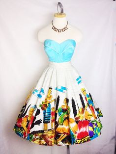 Vintage 1950s Hand Painted Mexican Circle Skirt  by hipsmcgee, $115.00
