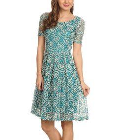Teal Lace Midi Dress #zulily #zulilyfinds
