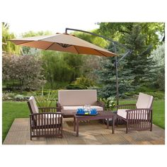 Outdoors: Fancy Offset Patio Umbrella Costco For Your . Galtech Aluminum Cantilever Offset Patio Umbrella With . Patio Set With Umbrella, Patio Table Umbrella, Cantilever Patio Umbrella, Outdoor Patio Umbrellas, Outdoor Decor, Patio Tables, Dining Tables, Patio Furniture Sets