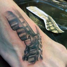 3d Realist Gang Motocross Fuß-Tattoos für Männer