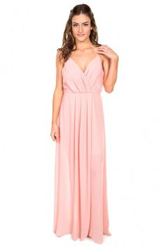 Adelyn Rae V-Neck Maxi   Light Pink  This pink maxi dress is perfect for a spring wedding!