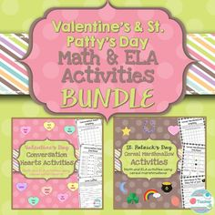 This BUNDLE will provide you with activities for two holidays in one purchase! Valentine's Day Conversation Heart Activities and St. Patrick's Day Cereal Marshmallow Activities will allow your students to have fun while still engaging them in learning! Both products include 4 math worksheets and 4 writing worksheets, all using cereal marshmallows or conversation hearts. TpT: https://www.teacherspayteachers.com/Product/Valentines-St-Patricks-Day-BUNDLE-Math-and-ELA-2290793