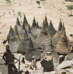 Thatch-covered conical roofs of cylindrical houses in a Matakam compound, Cameroon.  by Rene Gardi