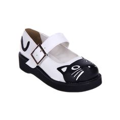 Cat Vamp Black-white Creepers (£62) ❤ liked on Polyvore featuring shoes, romwe, white and black shoes, black white shoes, white black shoes, black and white creeper shoes and cat print shoes