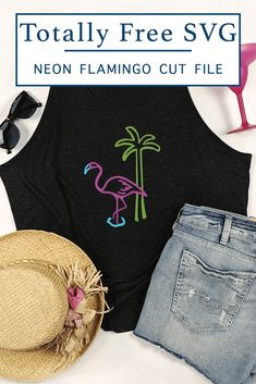 Get this Totally Free Flamingo SVG file from Everyday Party Magazine and make a fun neon style flamingo shirt! #TotallyFreeSVG #CutFilesForCricutAndSilhouette #Flamingo