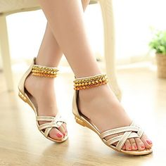 Women's Wedding Flat Heel  Open Toe  Sandals with  Beading Shoes (More Colors) – USD $ 19.99