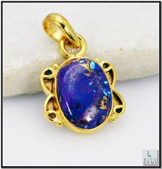 Turquoise Gems 18-Kt Y Gold Plating Braided Pendant Gpptur-8274 http://www.riyogems.com