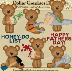Father's Day Bears 1 - Clip Art - $1.00 : Dollar Graphics Depot, Quality Graphics ~ Discount Prices