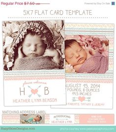 SALE Birth Announcement Template for by hazyskiesdesigns on Etsy, $5.25- might be one of my favorites