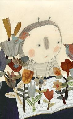 Flowers arise among the leaves …of  book / Surgen flores entre las hojas… del libro (ilustración de Manon Gauthier)